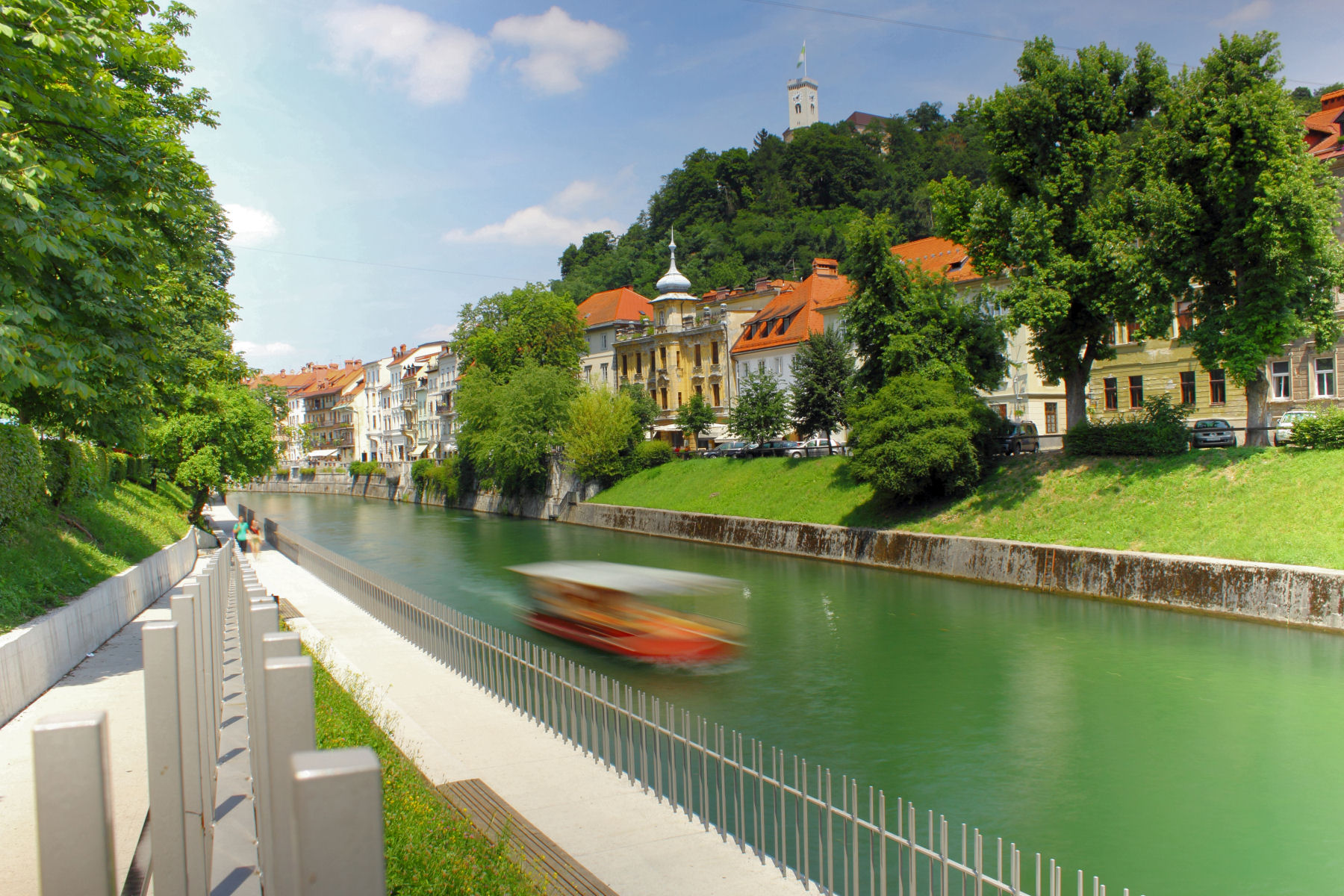 Ljubljanica river runs through Ljubljana Old Town