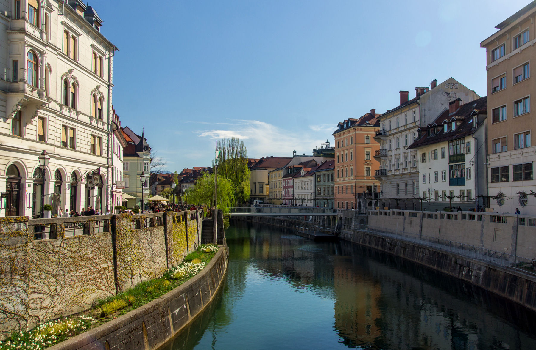 The Ljubljana canal provides great photo opportunities of architecture and different bridges