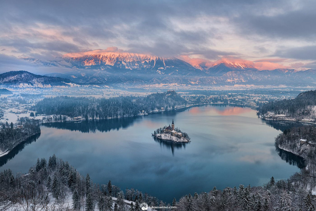 Lake Bled in Slovenia is beautiful in winter with the scenery of snow