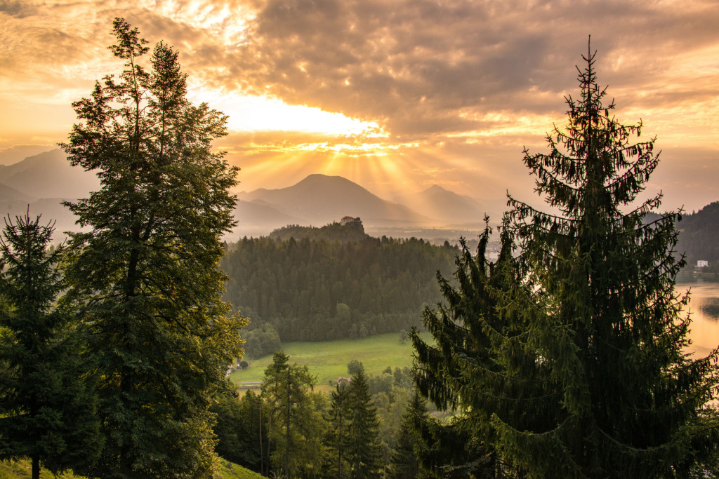 Dramatic sunrise over the Bled Castle at Lake Bled