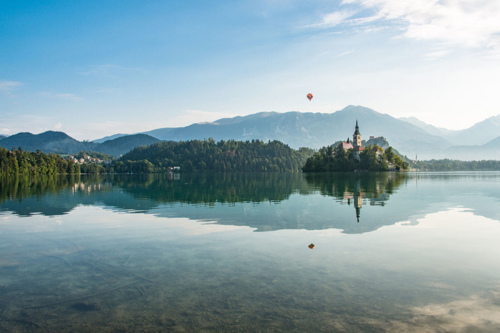 Hot air balloon over Lake Bled, Slovenia