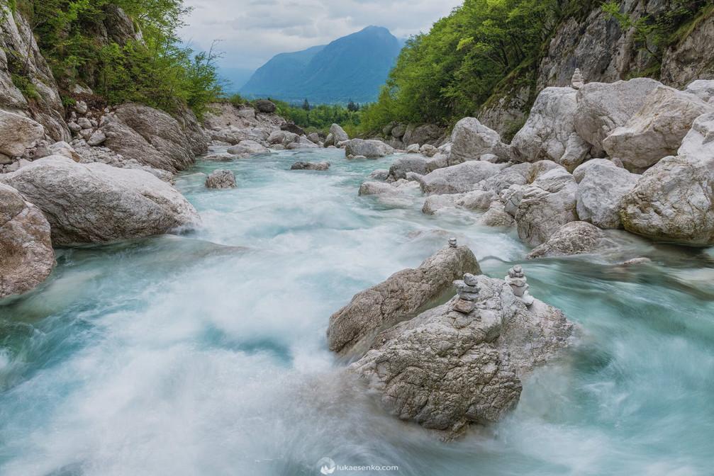 Boka river looking towards the Soca valley, Slovenia