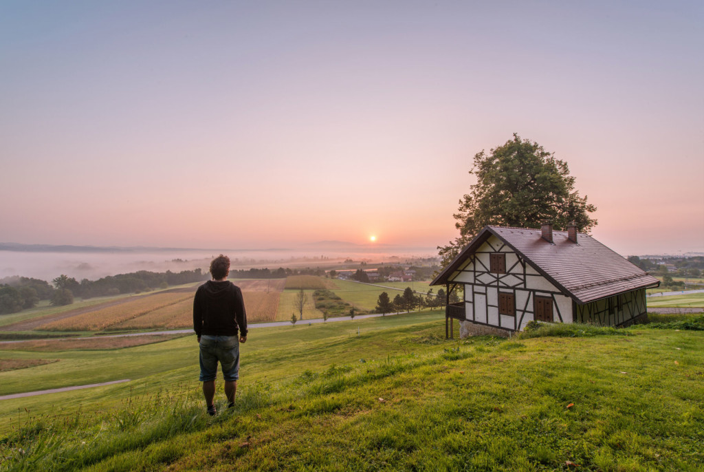 A beautiful sunrise in the rural countryside in the Dolenjska region of Slovenia