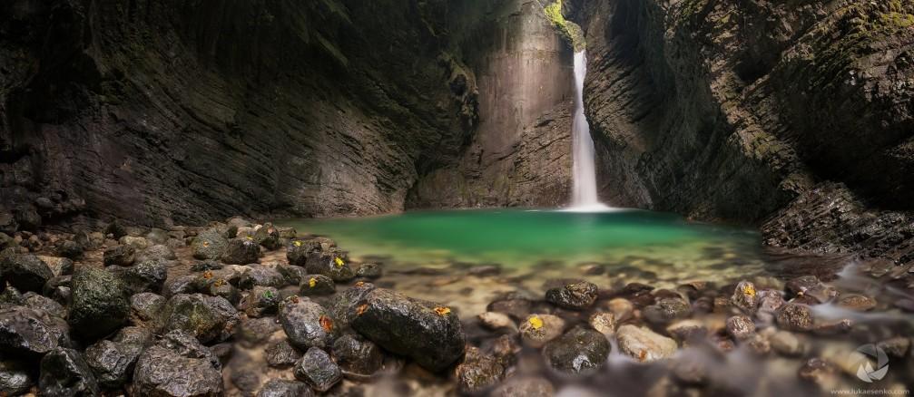 Kozjak waterfall with an amazing emerald green pool at its base, Kobarid, Slovenia