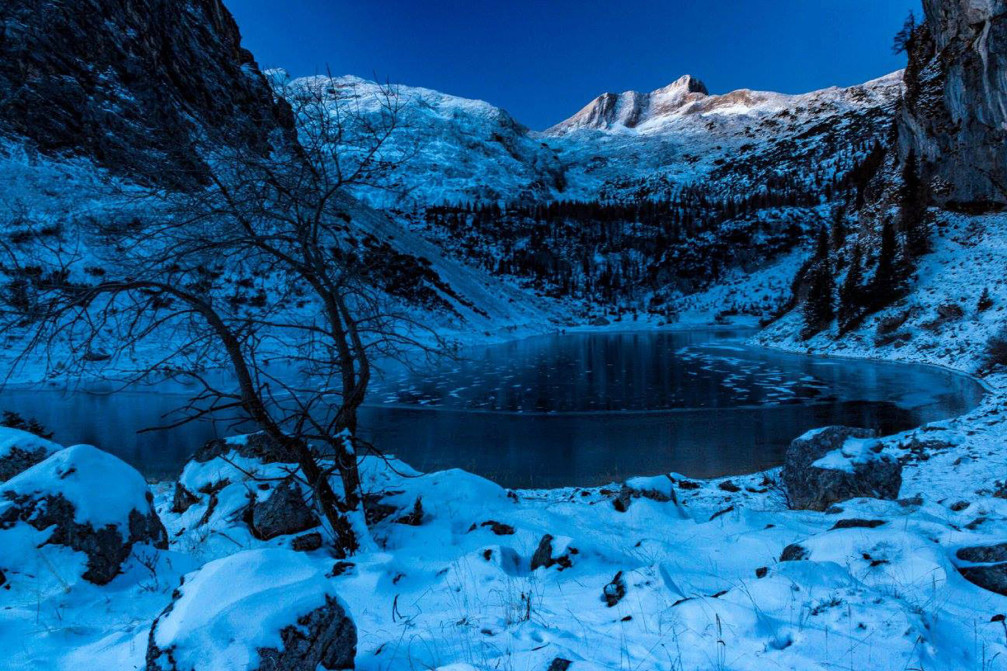 Krn Lake in winter time, Triglav National Park, Slovenia