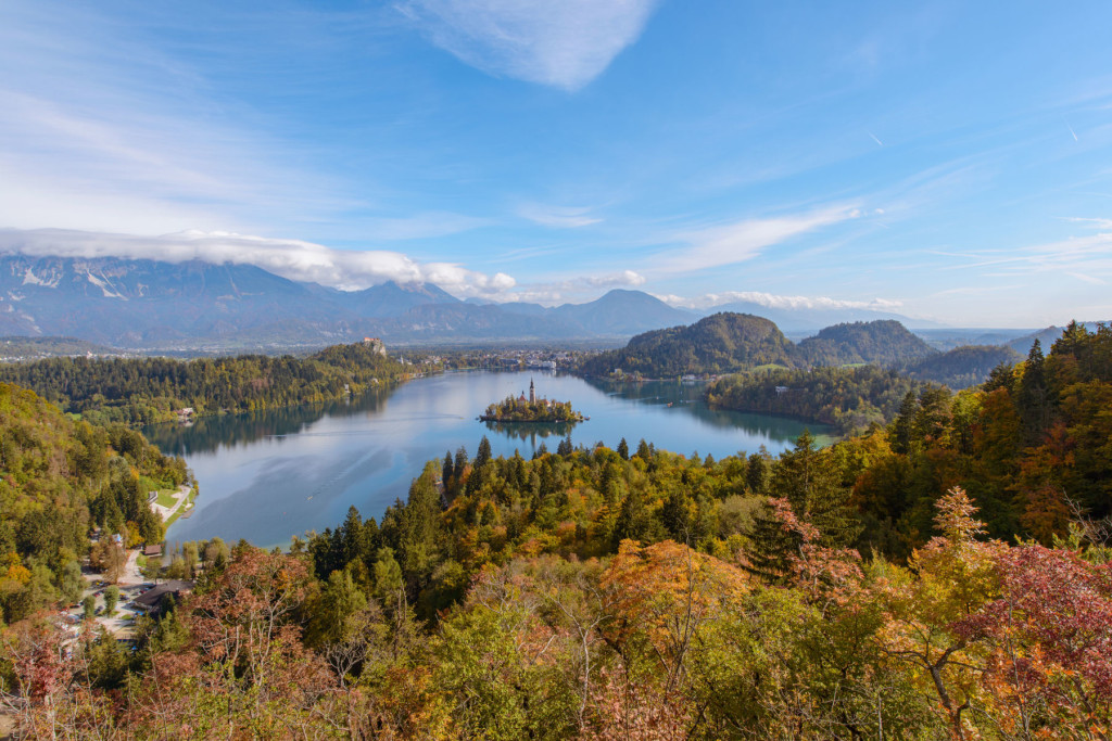 Autumn panorama of Lake Bled Slovenia from Ojstrica by a fine landscape photographer Ales Krivec