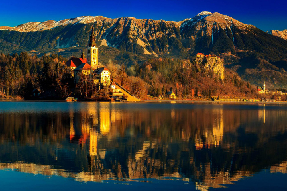 Bled Island and Bled Castle in Slovenia