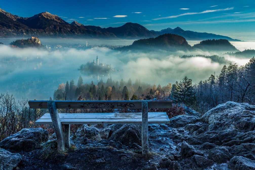 Lake Bled from the vantage point of the Ojstrica mountain, Slovenia