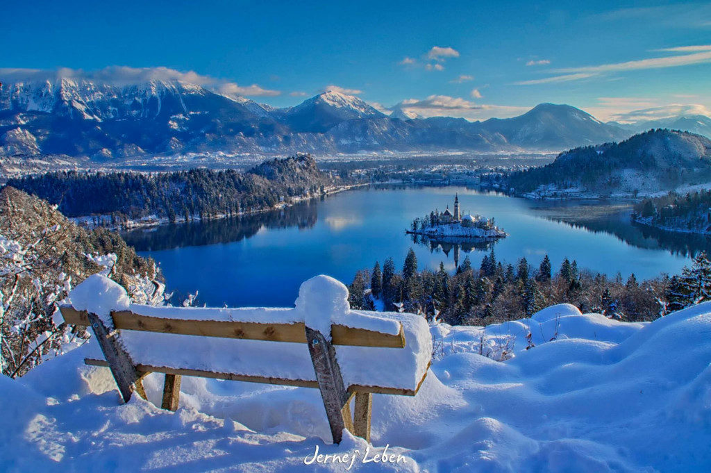 Elevated view of Lake Bled from Ojstrica in winter