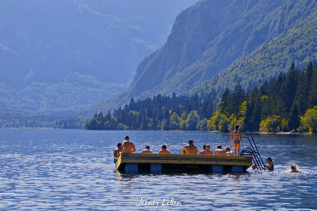 Bathing and swimming in Lake Bohinj, Slovenia