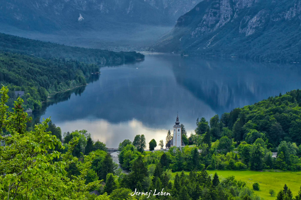Church of St. John the Baptist sits along the shores of Lake Bohinj in Slovenia