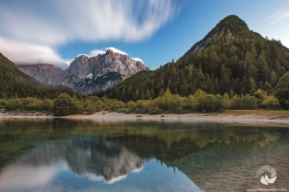 Lake Jasna is located near Kranjska Gora and offers stunning mountain views of Slovenian Alps