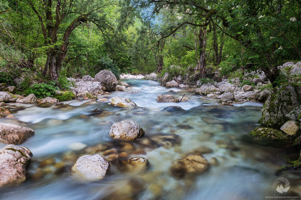 The beautiful Lepenjica river at its upper stream in the Soca Valley, Slovenia