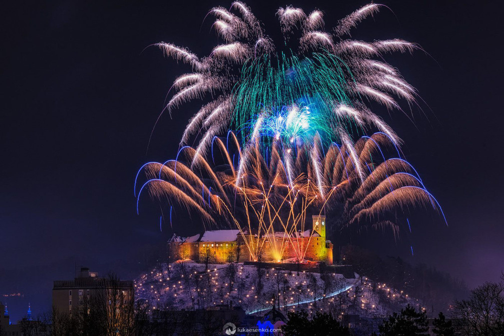 New Year's fireworks over the castle in Slovenia's capital Ljubljana during New Year's Eve 2014/15