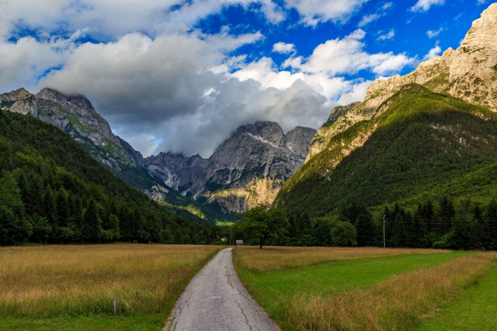 Beautiful countryside with stunning mountain views near the village of Log pod Mangartom, Slovenia