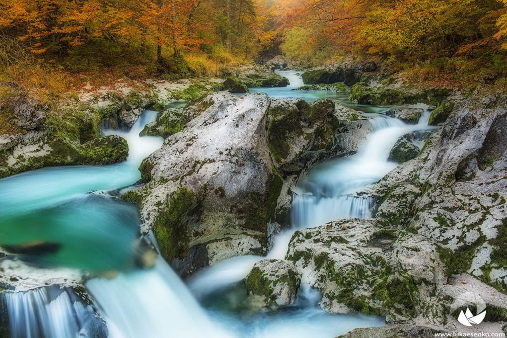Mostnica river in autumn, Voje valley, Bohinj, Slovenia
