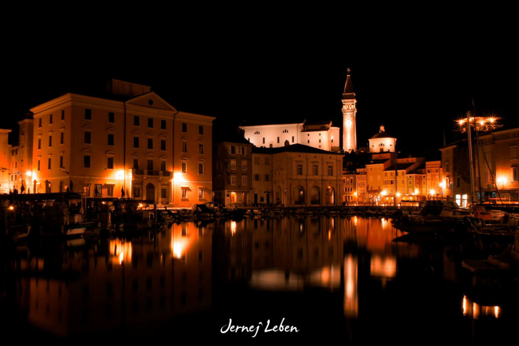 Beautiful night view of Piran from the harbour