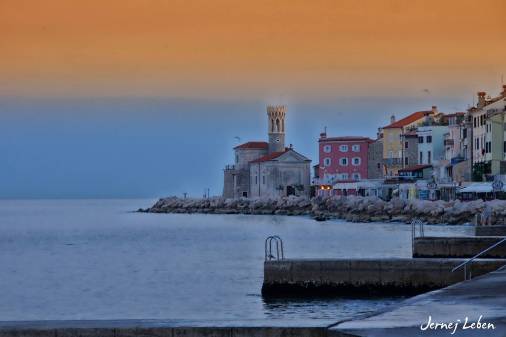Beautiful sunset over the waterfront of Piran, a picturesque historic town at the Adriatic Sea in Slovenia