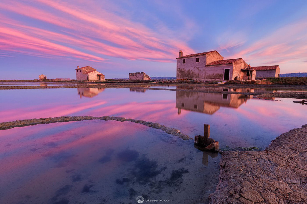 The Secovlje saltpans in Slovenia early in the morning