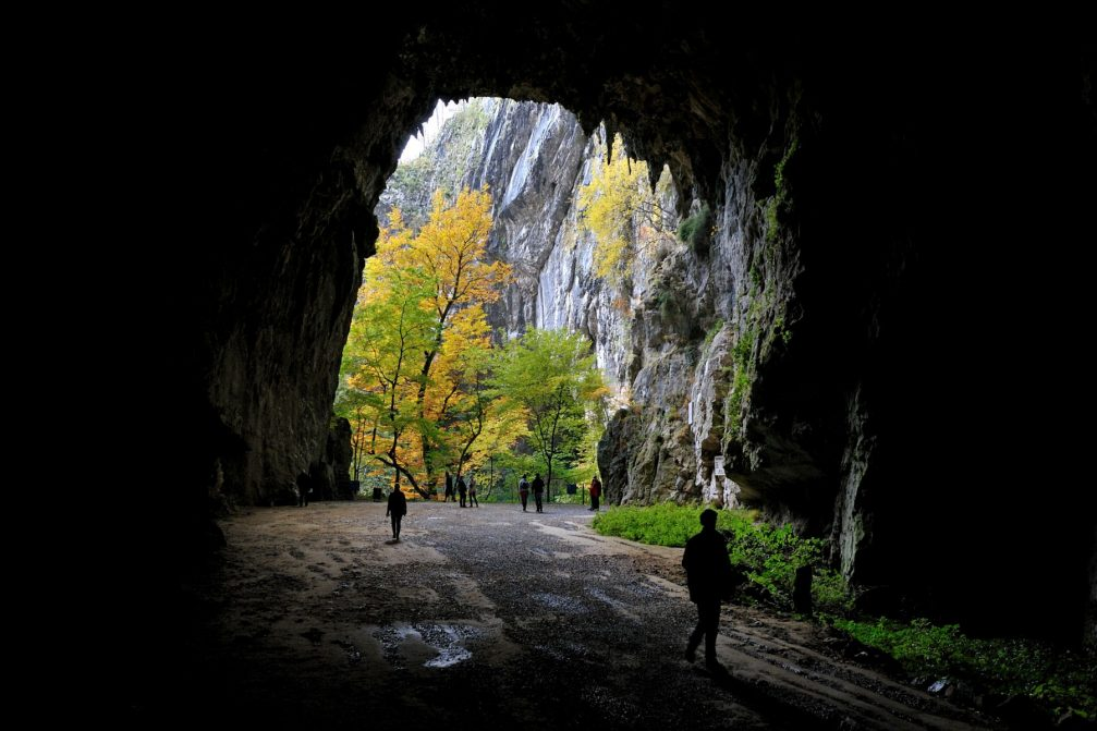 The exit of the Skocjan cave and entrance back into the gorge