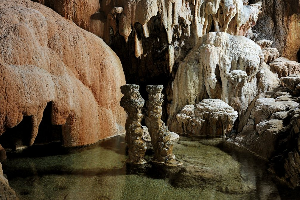 Two stalagmites, Romeo and Juliet, in the Great hall in Skocjan Caves