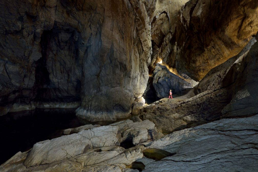 Underground canyon of Reka River inside the Skocjan Caves in Slovenia