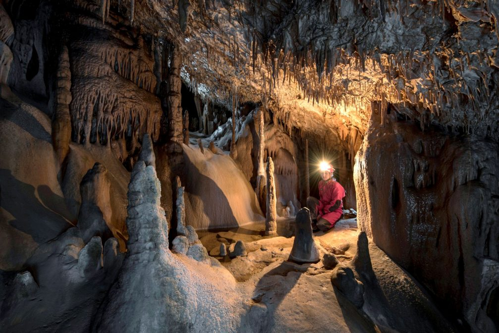 Formation of stalagmites in the Paradise section of the Skocjan caves in Slovenia