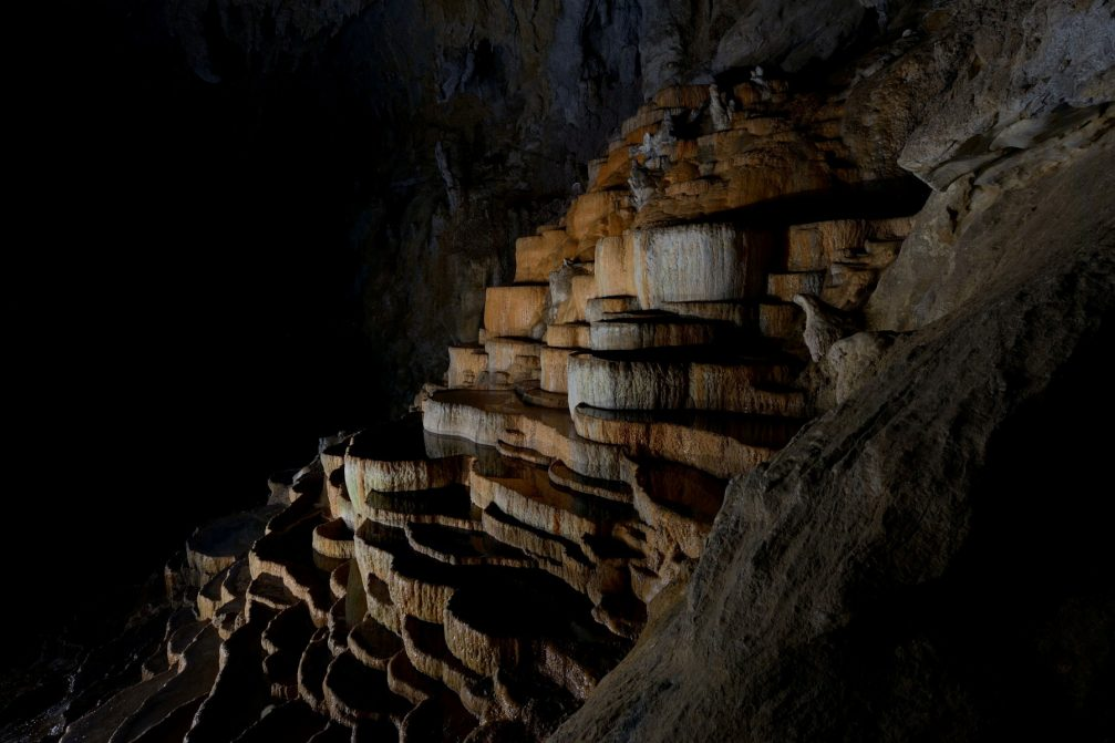 The Bowls Hall, terraced potholes shaped by the water inside Skocjan Caves in Slovenia