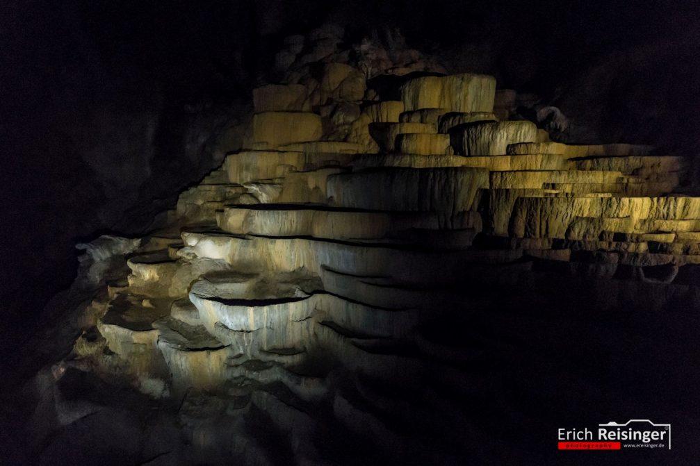 Terraces of precipitated calcium carbonate in the Skocjan Caves in Slovenia