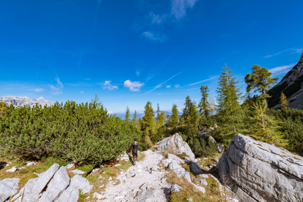 Beautiful sunny autumn day in the mountains of Slovenian Alps, Slovenia