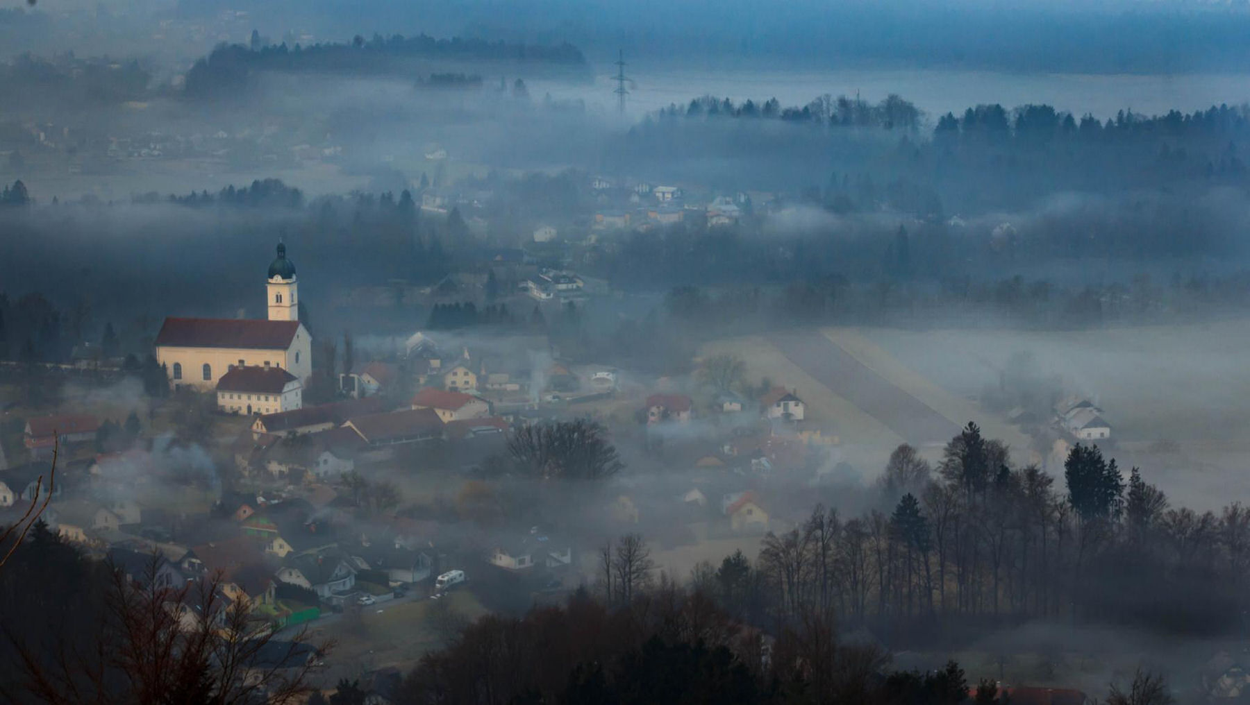 The village of Smlednik under the Smarna Gora hill, Slovenia