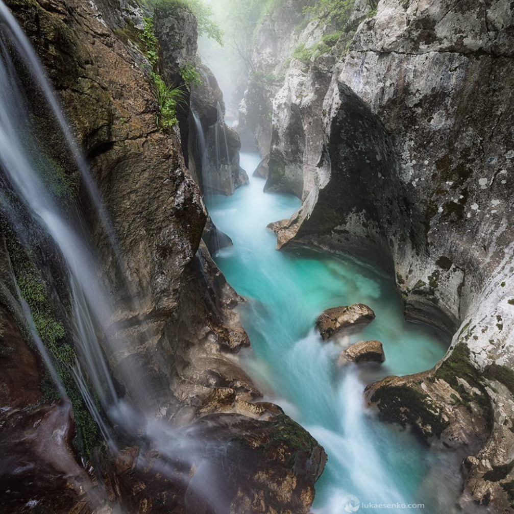 Soca gorge is one of the most beautiful natural attractions in the Triglav National Park, Slovenia