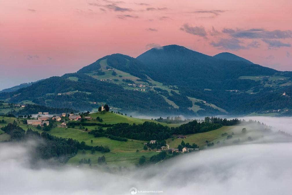 A small settlement of Sveti Tomaz near Skofja Loka, Slovenia