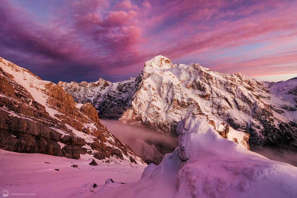 Slovenia's highest mountain peak Mount Triglav in Julian Alps at sunset in the winter