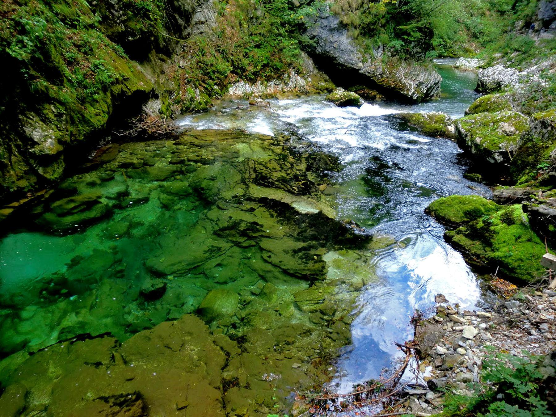 Vintgar Gorge is a huge tourist attraction near Lake Bled, Slovenia
