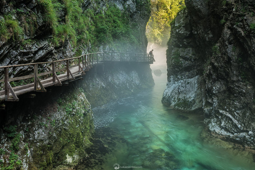 Vintgar Gorge is a strikingly picturesque gorge situated inside the Triglav National Park, Slovenia