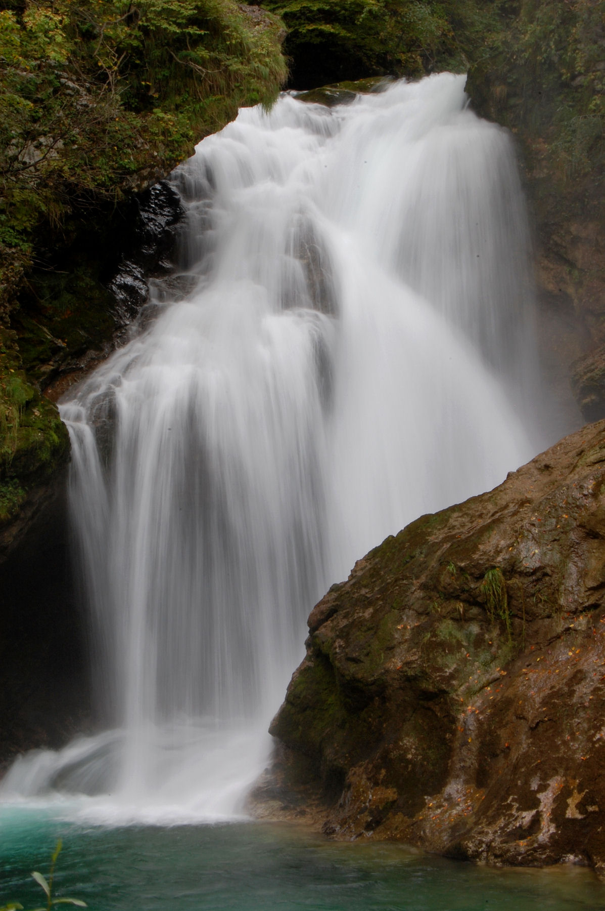 The magnificent Sum waterfall at the end of Vintgar Gorge