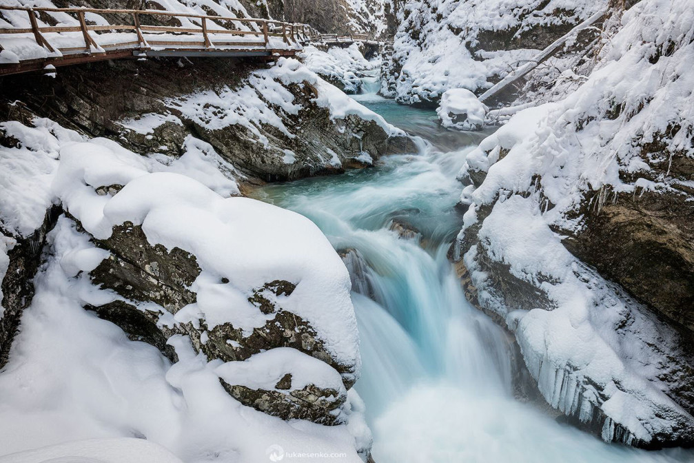 Vintgar Gorge in Slovenia looks beautiful draped in winter white with all the snow