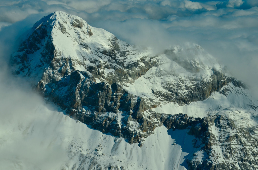 An aerial view of Mount Triglav, the highest mountain in Slovenia