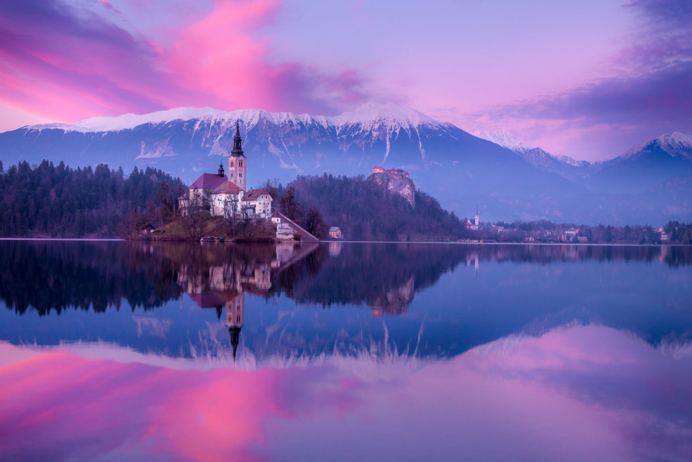 Lake Bled, Bled Island and Bled Castle, Slovenia