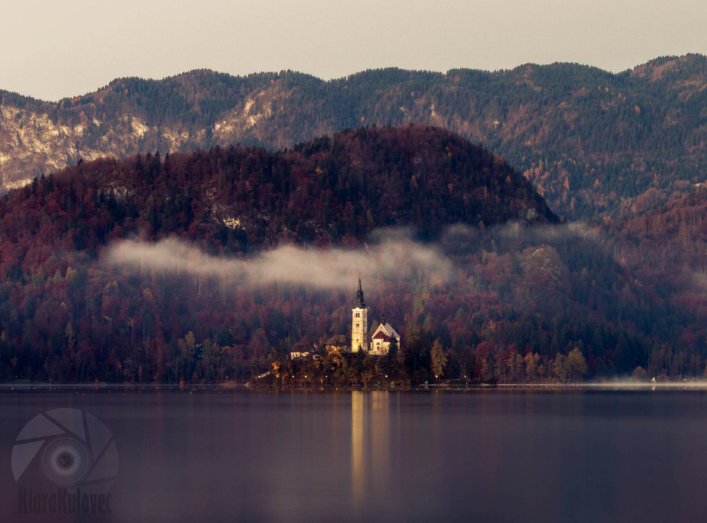 Bled Island with On the island in the middle of Lake Bled