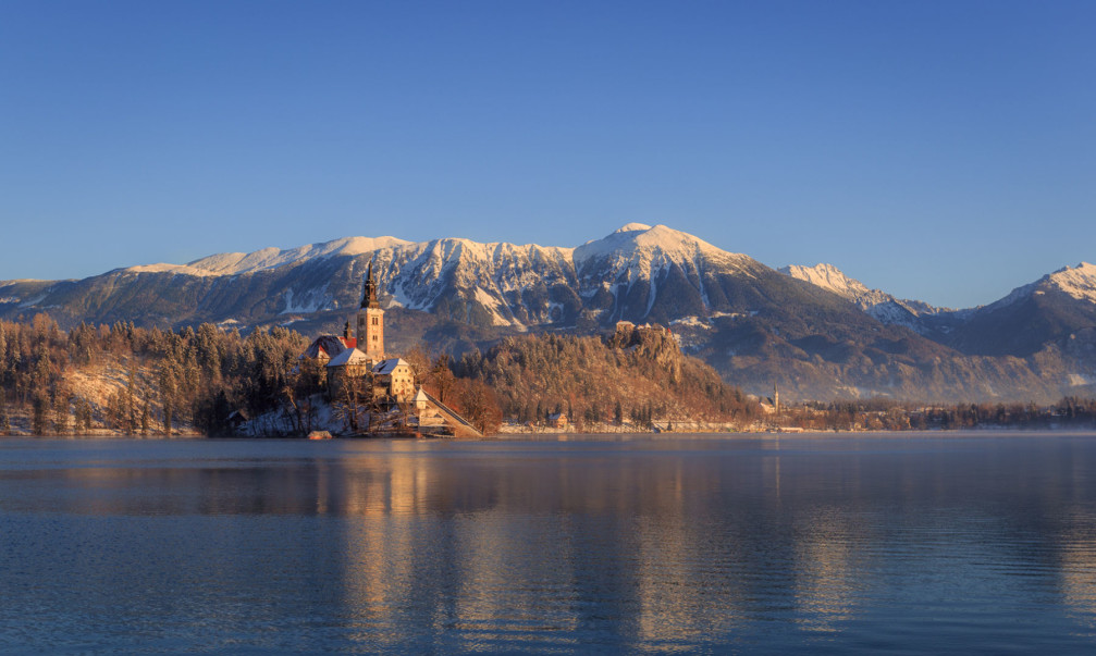 Bled Island, Bled Castle and the Karawanks mountain range in the background