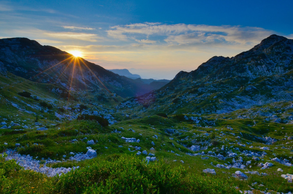 A beautiful sunrise captured from the Bogatin saddle in the Julian Alps, Slovenia