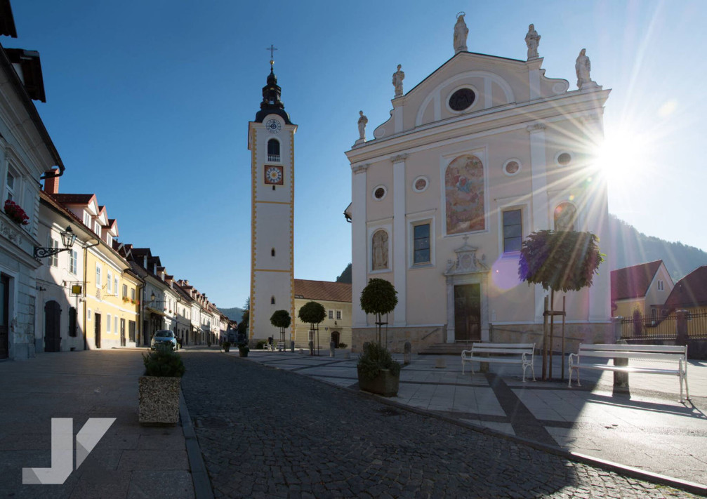 Church of the Immaculate Conception with its bell tower in Kamnik, Slovenia