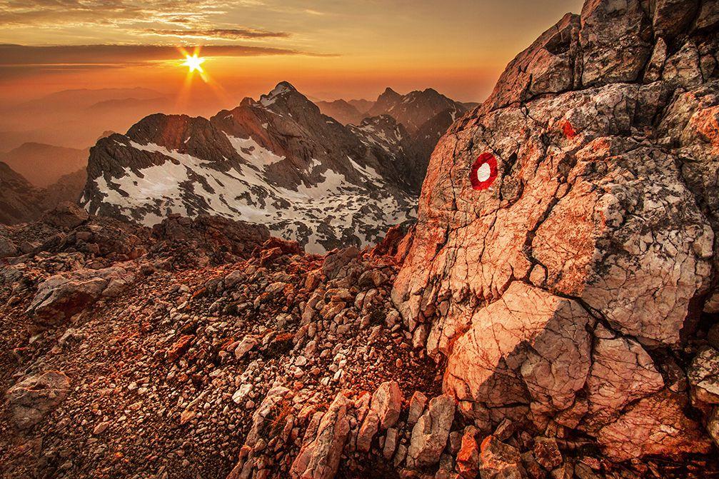 Beautiful sunrise over Grintovec, the highest mountain of the Kamnik–Savinja Alps, Slovenia