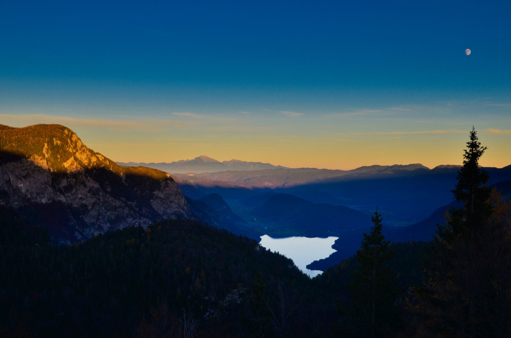 A beautiful sunset as seen from Komna, a karst mountain plateau in the Julian Alps, Slovenia