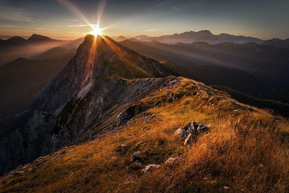 Sunrise over the Kosuta ridge in the Karavanke mountain range, Slovenia