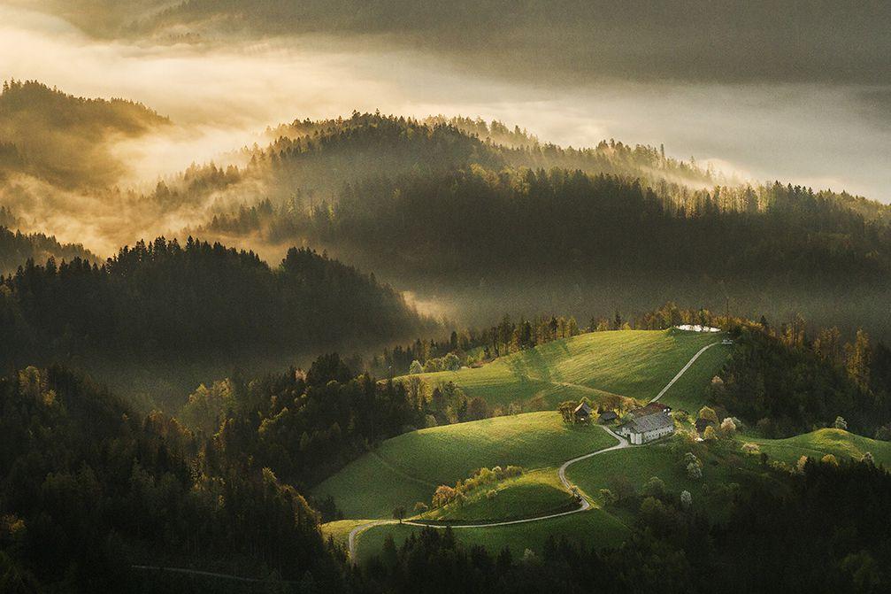 View of the Dreta valley from the Kranjska Reber mountain in Slovenia