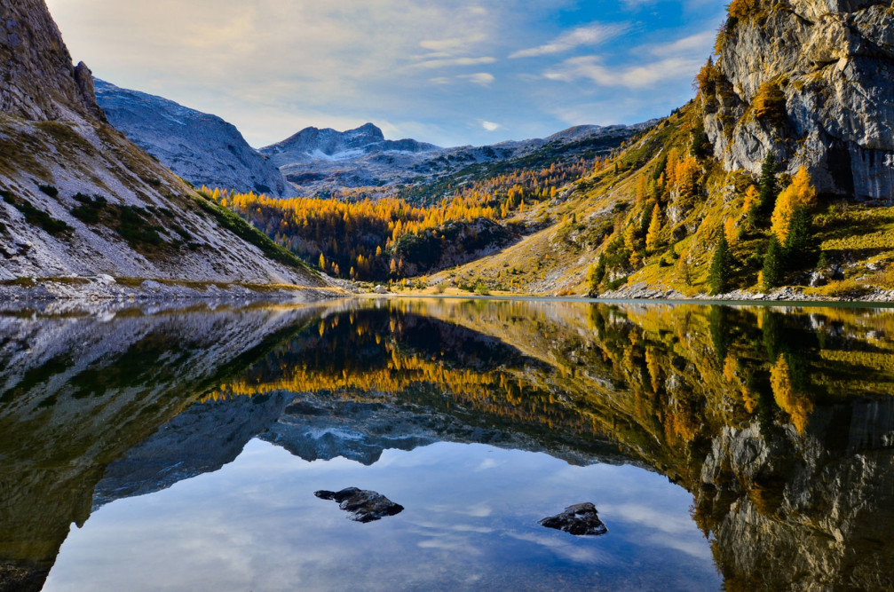 Lake Krn, the largest Slovenian alpine lake located in the south of the Triglav National Park