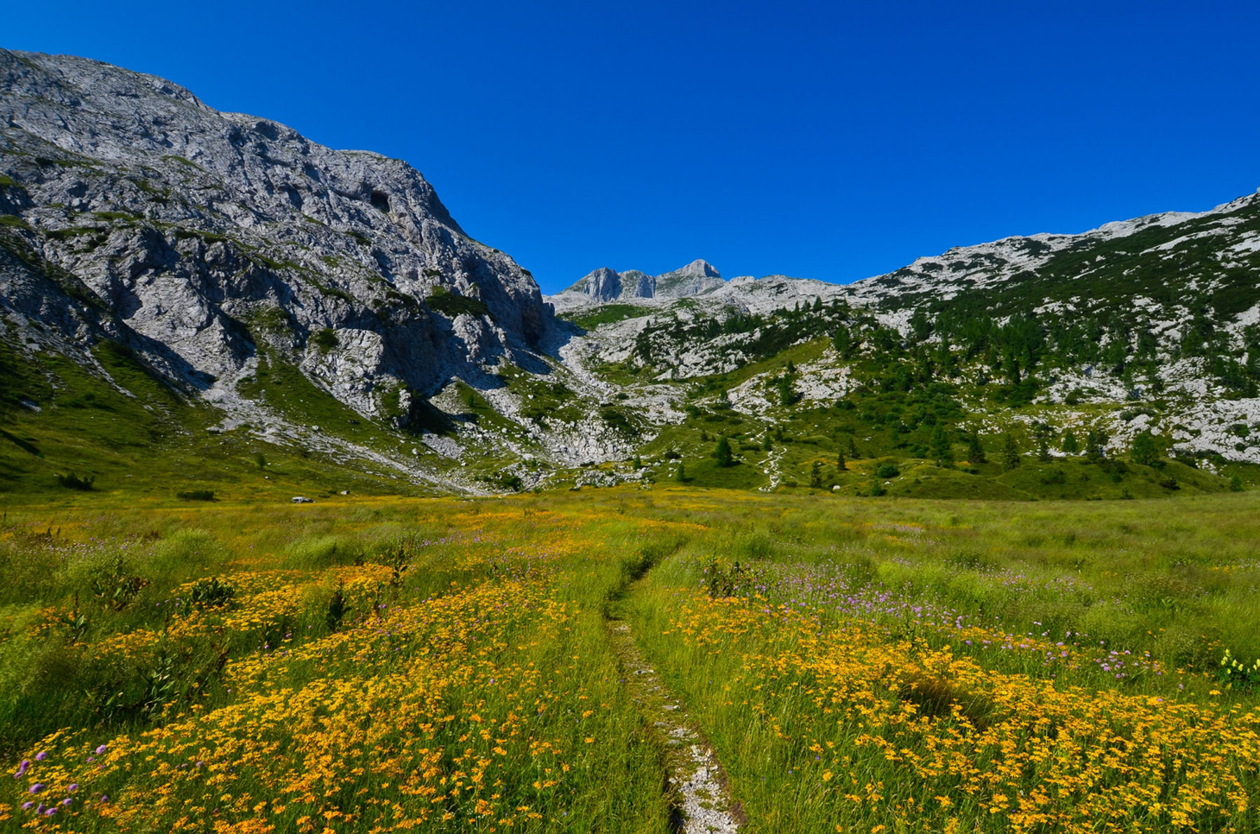 Mountain Hiking Trail to the Krn mountain in Julian Alps, Slovenia